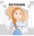 pretty girl in a hat on a background of palms vector image