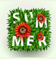 realistic beautiful flower frame red flower vector image