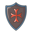 red cross classic shield icon cartoon style vector image
