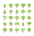 Trees flat colored icons vector image