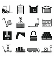 Warehouse logistic storage icons set vector image