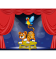 A tiger and a colorful parrot performing on the vector image vector image