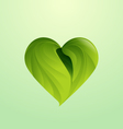 Green leaves form heart shaped icon logo vector image