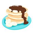 chocolate sauce with banana pancake xa vector image