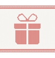 Knitted gift box vector image vector image