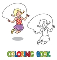 Girl jumps with rope  Coloring book vector image