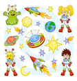 cartoon outer space set vector image vector image