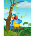 A branch of a tree with a colorful bird vector image