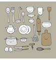 A set of kitchen utensils vector image