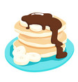 Chocolate sauce with banana pancake xa vector image