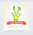cute funny green monster showing thumbs up happy vector image
