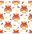 red and yellow owls with bows vector image