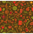Seamless color doodles background with coffee vector image