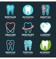 Set of tooth logo design template Dental logo vector image