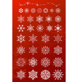 Snowflakes on red background vector image
