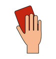 color image cartoon hand with red card vector image