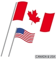 Canada and USA flags vector image