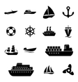 black ship and boat icons set vector image