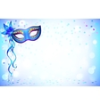Blue carnival mask and confetti light background vector image