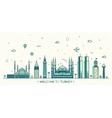Turkey skyline linear style vector image