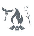 Fire marshmallow and sausage icon vector image