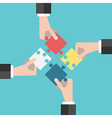 Four hands putting puzzles vector image