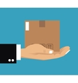 hand holding cardboard box delivery cargo vector image