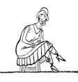 Retro lady sitting vector image