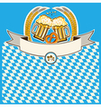 two glasses of beer on Bavaria flag background vector image
