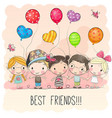 cute cartoon girls and boys vector image