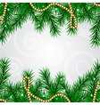 Christmas frame with fir and decorations vector image vector image
