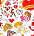Seamless pattern with funny cartoon love elements vector image