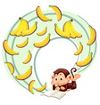 Monkey reading about banana vector image vector image