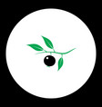 Berry with leaves fruit simple black and green vector image