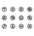black zodiac symbols icon set vector image