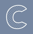 C alphabet letter with white polka dots on blue vector image