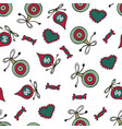 christmas pattern with baubles sweet candies and vector image