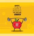 poster of happy apple exercise at a gym healthy vector image