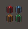 set of black gift boxes with a ribbon bows vector image