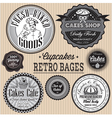 set of retro badges for cakes vector image