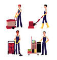 cleaning service boy with vacuum cleaner floor vector image