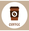 Flat takeaway coffee cup icon vector image vector image