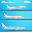 Different aircrafts collection Flat design vector image