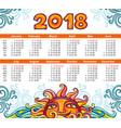 calendar 2018 year celestial style week starts vector image
