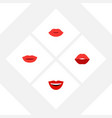 flat icon mouth set of lips mouth smile and vector image