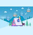 mountain ski resort in wintersnow and fun vector image