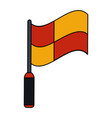 color image cartoon red and yellow checkered flag vector image