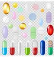 pills set transparent background vector image