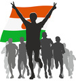 Athlete with the Niger flag at the finish vector image vector image