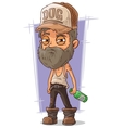 Cartoon old sad homeless man vector image